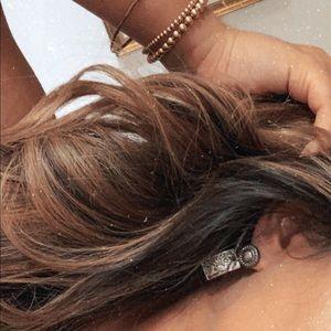 Silver drop stud earrings